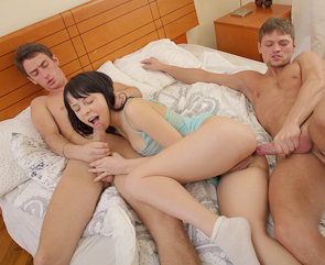 Threesome Anal with Cute Russian Teen Dania in Lingerie