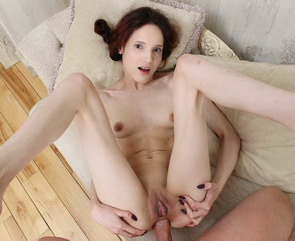 Skinny Russian girl Mia Sanders gets first anal fuck with creampie.
